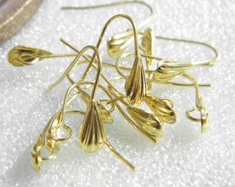 1 pair of clasps hooks for earrings brass gilded without allergens
