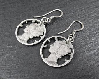 Sterling Silver 1925-1928 Mercury Dime Earrings | Vintage Womens Earrings