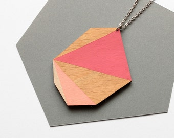 Geometric polygon wooden necklace - pink, rose, vanilla, natural wood - minimalist, modern statement necklace