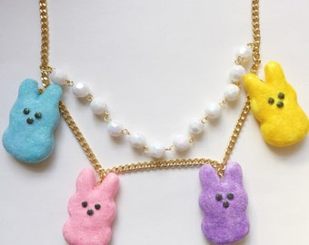 Peeps Necklace Miniature Food Jewelry Polymer Clay