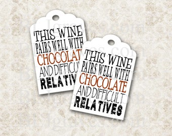 Wine Chocolate Hostess Gift Tags Wine Tags Party Favor Treat Bag Tag Housewarming Gift T074