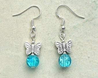 Butterfly Earrings with Sterling Silver Hooks & Blue Glass Beads New LB60