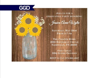 Rustic Graduation Party Invitation with Sunflowers, graduation Invitation, graduation, printable invitation-Print Your Own