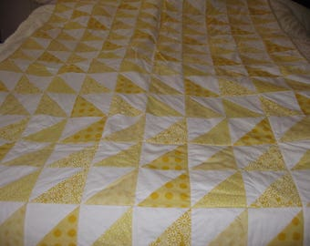 Yellow and White Triangle Quilt