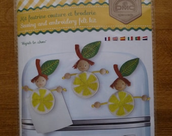 "Sewing and embroidery ""Magnets lemons"" felt Kit"
