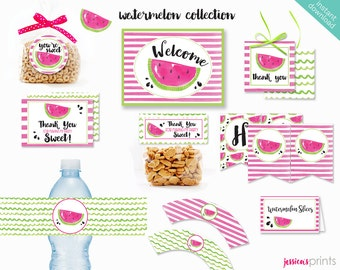 Instant Download Watermelon Printable Party Collection, Watermelon Party Printables, Watermelon Party Printable, Pink Watermelon Party Set