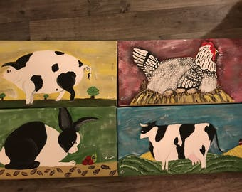 Classic American Folk Art Style Painting