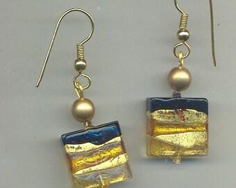 Gold & Jet Black Dynamic Venetian Murano Art Glass Earrings, 4 Designs ER134.ER161.ER276.ER281