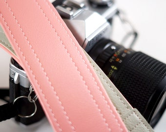 Soft Pink Vintage Camera Strap With White Ends, Pastel
