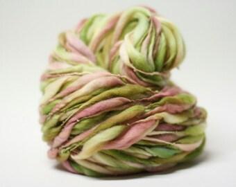 Yarn Thick and Thin Handspun Wool Slub  tts(tm) Merino Hand dyed Unakite 01