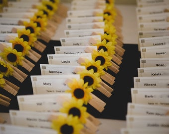Sunflower Wedding Decor,  Place Card Holders, Clothes Pins,10