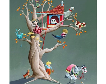 Children's Art - Signed, Limited Edition giclée print. - 'The Treehouse'
