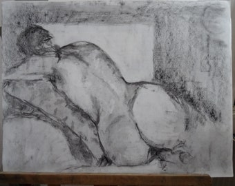 Back naked woman, original drawing in charcoal on Ingres paper gummed
