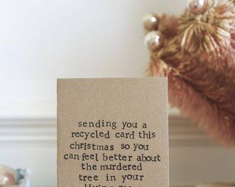 Funny Christmas Card - Sending A Recycled Card, Christmas Tree   Xmas   Humour