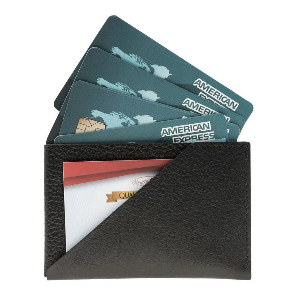 Burkley Slim Business Card Sleeve in Rolex Black Leather