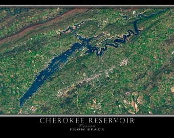 Cherokee Lake Tennessee Satellite Poster Map