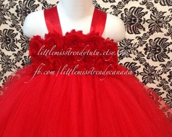 Red Tutu Dress, Red Flower Girl Tutu Dress, Red Flower Tutu Dress, Girls Red Tutu Dress, Flower Girl Dress Red, Birthday Tutu Dress, Red