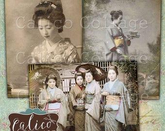 Printable, Hang Tags, Oriental People, Journal Tags, Digital, Collage Sheet, Far East Charm, Chinese, Japanese, Printable Tags, Vintage