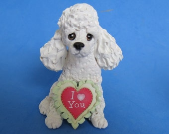 White French Poodle dog DOG I Love (heart) You Sculpture Clay art by Sallys Bits of Clay