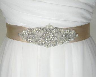Plus Size Wedding Belt, Long Bridal Belt, Bridal Sash, Bridesmaid Belt, Extended Sizes Sash, Pearl and Crystal Rhinestone Beaded Belt, SOFIA