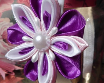 2 Ways Kanzashi Flower Hair Clip/Headband, Flower Girl Headband, Purple Headband