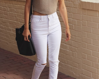 Taupe Sleeveless Knitted Crop Top / Knit Spring + Summer Tank