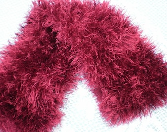 ON SALE - Ostrich Wool Scarf Hand Knitted in Red