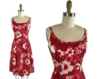 1950s Floral Bobble Dress / 50s Spaghetti Strap Red and White Floral A-Line Dress / Vintage Small  XS Dress