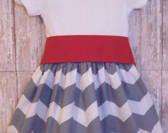 Girls Gray Chevron Dress, Birthday Dress, Girls Dress, Ready To Ship, Size 3M