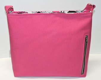 Fuschia Canvas Conceal Carry Purse, Handbag, Tote, CCW Crossbody