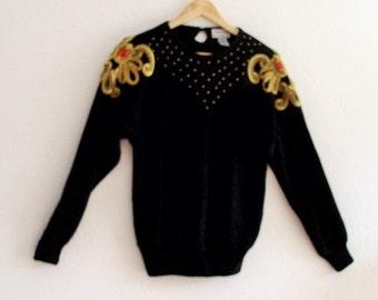 VTG Black Embellished Sweater