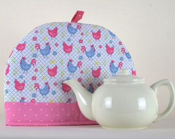 Large Tea Cosy Cozy. Brand New Made in England. Pink & Blue Happy Hens Design Fabric
