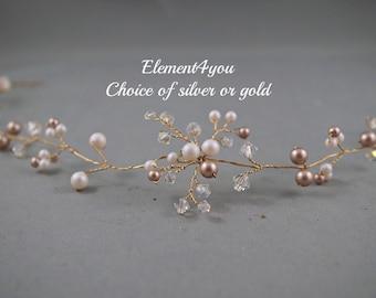 Bridal hair vines, Pearls & crystals, Bridal champagne gold headpiece, Wedding headpiece,  Hair piece, Bridal wreath, Wedding hair accessory