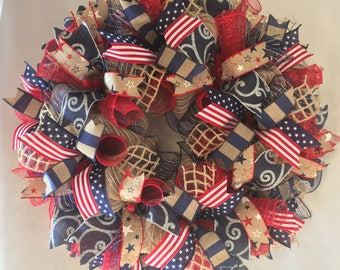 SALE Patriotic wreath, Patriotic burlap wreath, burlap patriotic wreath, Memorial Day decor, 4th of July wreath, patriotic wreaths, wreath