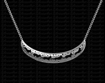 3D Pembroke Welsh Corgi crescent necklace - sterling silver