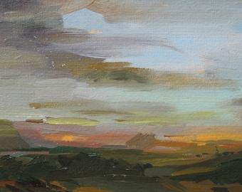 Evening-Art Original Oil Landscape Painting,  Vintage