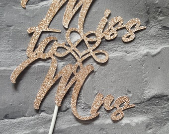 Miss to Mrs cake topper rose gold silver pink glitter hen party