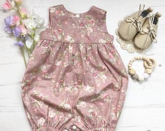 Vintage Rose Blush Pink Romper, 0-4 years