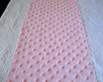 """Large 1"""" Oblong Cabin Crafts """"Baby Pink"""" Pops Vintage Chenille Bedspread Fabric 22"""" x 19"""" #2"""
