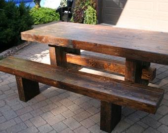 Wooden table in dark walnut stain