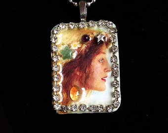 Persephone Goddess Pre-Raphealite Pendant Necklace
