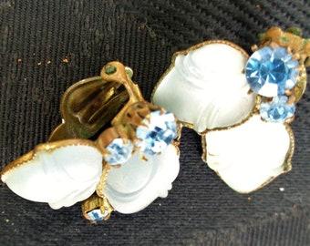 Blue Rhinestones glass stones in brass settings clip back Earrings Vintage