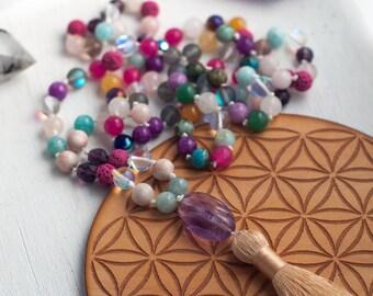 Sparkling Sunrise 108-Bead Mala Necklace w/ Rainbow Fluorite pendant & Toasted Almond Tassel