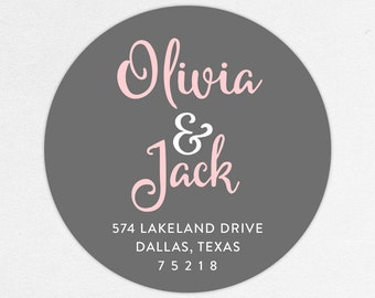 Return Address Label, Wedding Return Address Label, Family Return Address Label, Save the Date Return Address Label, Calligraphy, Monogram