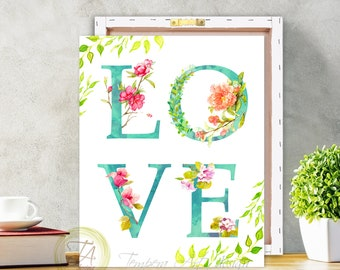 Love, Love Print, Love Quote, Love Sign, Typography Art, Wall Quote, Romantic Art, Wall Art, Love Canvas Love Sign, Watercolor Love Sign