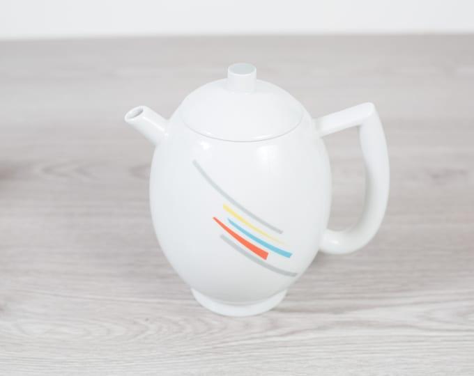 Vintage Arzberg Teapot - White Tea Pot with Rainbow Stripe Pattern - Minimalist Mid Century Geometric Shape Dinnerware - Made in Germany