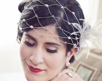 Glamorous Vintage Inspired Pewter and Blush Head Wrap