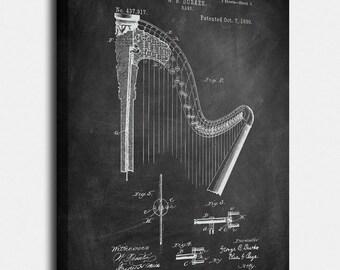 Harp  Canvas Print, Harp  Patent,  Vintage Art,  Blueprint,  Poster, PatentPrints, Wall Art, Decor [MU4--2C]