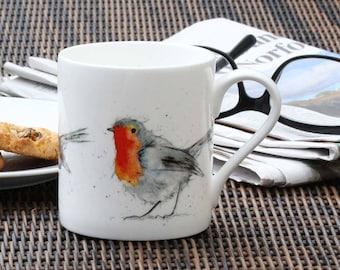 Robin Mug - Bird Gift, Fine Bone China - Woodland, Country kitchen, New Home Gift