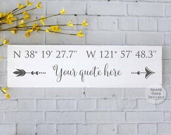 Personalized Wedding gift | GPS sign | custom coordinates sign | wedding shower gift | GPS coordinates sign | latitude longitude sign